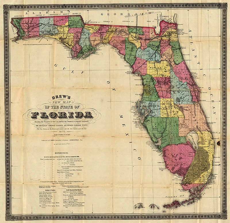 Florida Map 1870 Scanned Version Of An Old Original