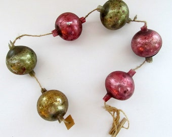 Vintage German Mercury Glass Garland/ Pink and Gold Mercury Glass Garland