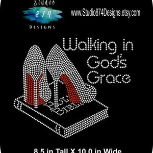 Rhinestone Bling Iron-On Transfer - Walking in God's Grace - High Heel - Bible - God - Religious  - Bling DIY Applique