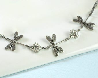Silver Dragonfly Necklace - Small Dragonfly Necklace, Nature Jewelry, Nature Necklace