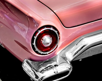 Ford Thunderbird PINK Car Photography, Automotive, Auto Dealer, Muscle, Sports Car, Mechanic, Girls Room, Garage, Dealership Art