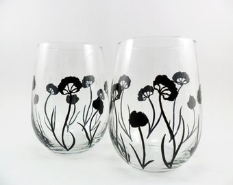 Stemless Wine Glasses Black Flower Contemporary Modern Design Hand Painted Set of 2