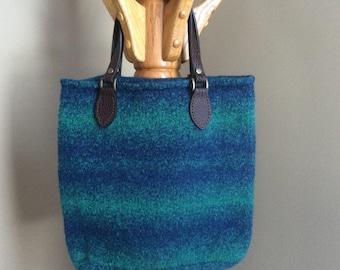 Blue and green wool felt tote bag