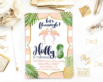 Flamingo Birthday Invitation - Birthday Party invitation - Printable Digital Invite