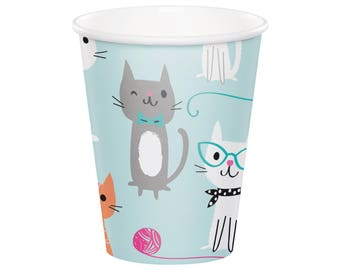 Cat Party Cups - Cat Birthday - Kitten Birthday - Cat Party Supplies - Kitty Baby Shower - Meow Birthday - Kitty Birthday - Party Decor