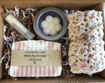 White Tea and Ginger bath set, gift set, spa kit, birthday gift, soap set