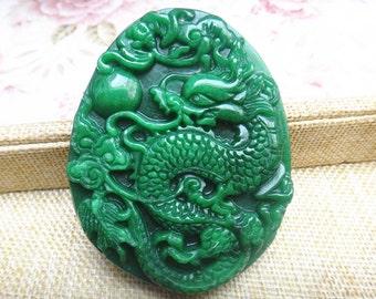 perfect large green Chinese dragon pendant pendant
