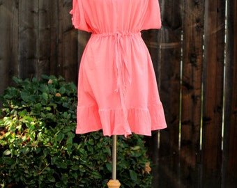 Mini Caftan Dress - Beach Cover Up Kaftan with Kimono Sleeves in Coral Cotton Gauze - 20 Colors