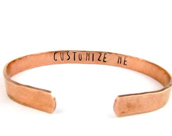 Custom Hand Stamped Bracelet, Personalized Gift, Hammered Copper Cuff Bracelet, Personalized Jewelry, Gift for Woman Anniversary Birthday