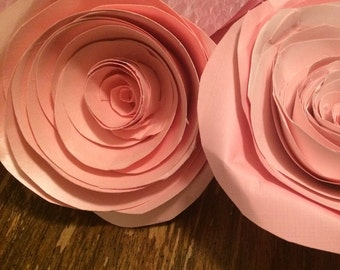 Rolled Paper Flowers - Set of two 4-6 inch flowers