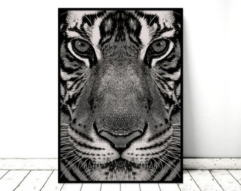 Printable Art Poster Tiger Monochrome Nature Wall Art. Printable *INSTANT DOWNLOAD PDF* A2, A3, A4, resizable