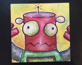 "Robot Class Photo #4: Rusty (Pastel/Ink on 5""x5"" canvas panel)"