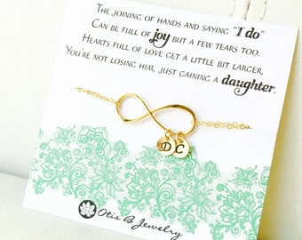 Mother in law gift from bride, personalized infinity bracelet with initial charms, mother of the groom card, sentimental message, Otis B