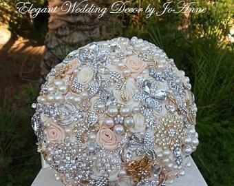 Ivory and Peach Brooch Bouquet, Custom Brooch Bouquet, Peach Jeweled Wedding Bouquet, Keepsake Bridal Bouquet, DEPOSIT