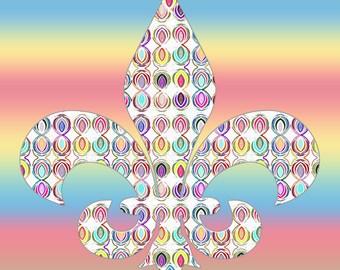 FLEUR DE LEIS Art, Fleur De Leis Wall Art, Pastel Colors Art Painting, Pastel Wall Art, Pastel Colors Decorations, Gay Rainbow Wall Art