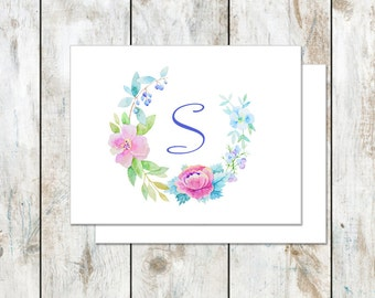 Spring Folded Stationery - Teacher Appreciation Gift - Floral Folded Cards - Watercolor Floral Stationery
