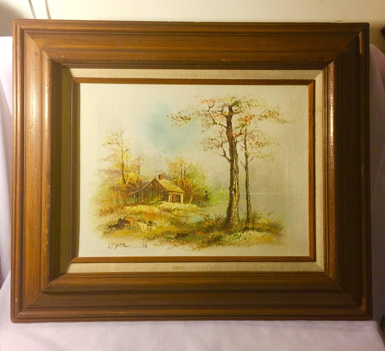Wall art Oil Canvas framed country cabin river scene artist