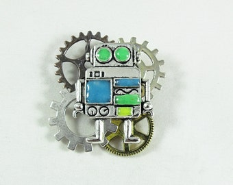 Steampunk Robot and Gears Brooch, Silver  With Glow in the Dark Features  Mens Womens Gift