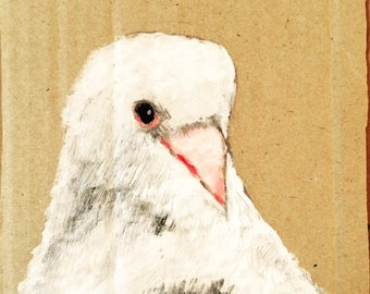 Art print of an acrylic painting of a dove, wall art, bird, cardboard,