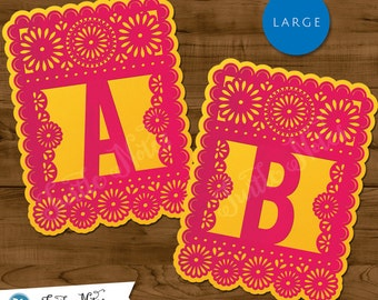 Large Pink & Yellow Papel Picado  :  Printable Banner All Letters 0-9 numbers