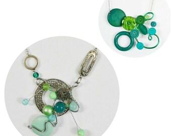 au choix: colliers sculpturaux turquoise ajustable/ sculptural necklace aqua