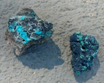 17-314-8 2 pack combo! Chrysocolla and Malachite specimens from the famed Planet Mine!