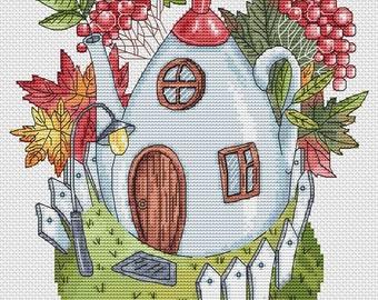 Cross Stitch autumn,Cross Stitch tea,Cross Stitch Pattern PDF,Cross Stitch leaf,Cross Stitch berriesCross Stitch kitchen,point de croix PDF