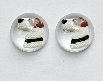 Round Glass Terrier Dog Intaglio Cabochons 13mm (2) int006A