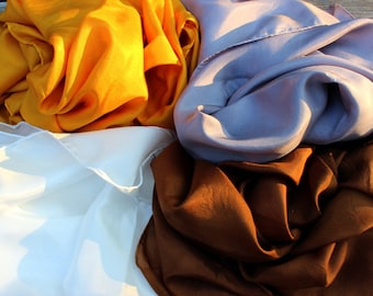 Neutral Color Set Playsilks ~ Silver Gold Brown White ~ Hand Dyed!