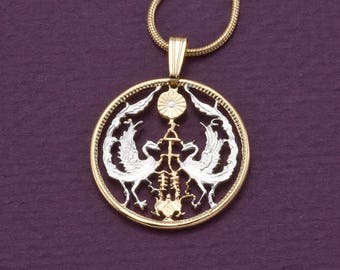 Japan pendant etsy japanese pendant and necklace jewelryjapanese 50 sen coin hand cut 14 karat gold aloadofball Gallery