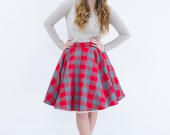 Red and Gray Checkered Plaid Flannel Circle Swing Skirt