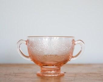 Pink Depression Glass Sugar Dish
