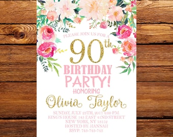 90th Birthday Invitation, Rustic Birthday Invitation for Women, Watercolor Floral Flower, Women Birthday Party  40th, 50th, 70th, 80th. 164