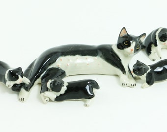 Adorable Miniature Cats Figurine - Miniature Tuxedo Cats - Black And White Cats - Ceramic Hand Painted