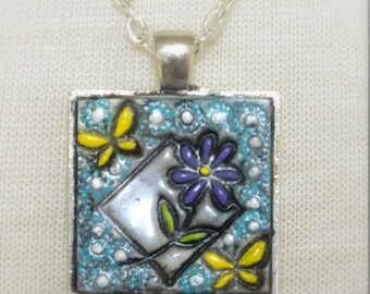 Purple Daisy Flower with Yellow Butterflies, Pendant Necklace Polymer Clay Jewelry, Purple Blue White Silver , Boho Hippie Jewelry