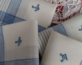 Antique Men's Handkerchief blue and white plaid cotton monogram Large Unused French Fabric Tissue Pocket Square #sophieladydeparis