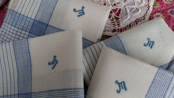 Antique Men's Handkerchief blue and white plaid cotton monogram Large Unused French Fabric Tissue Pocket Square #sophieladydeparis