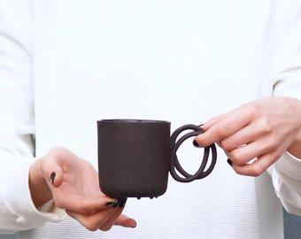 Porcelain mug TWIST cup black porcelain china cup handmade by ENDE