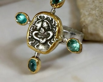 RESERVED FOR E, Greek Coin Statement Ring, silver and 22 kt yellow gold , tourmaline ancient coin  ring, Gorgon ring, ancient coin jewelry