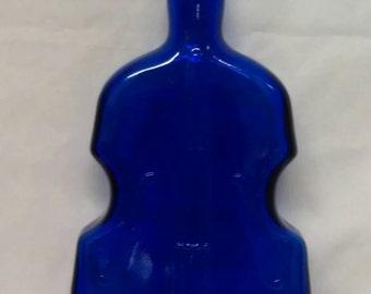 Cobalt Blue Glass Violin Bottle