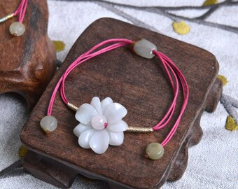 Jade Flower bracelet. Traditional Chinese knotting art Cherry red bracelet. simple knotted adjustable bracelet/style048