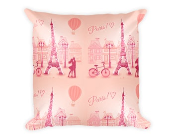 Throw Pillow with Insert, 18x18 Paris Eiffel Tower Print Pillow, Paris Designer Pillow, 18 Inch Double Sided Couch Pillow, Room Home Decor