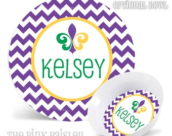 Personalized Plate and Bowl| Mardi Gras Krewe Gift| Krewe | NOLA | Mardi Gras Beads |  Fleur De Lis | Fat Tuesday | King Cake