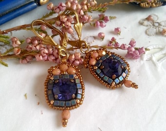 Paloma n.37/violet/style old/inspiration history/rococo/marie antoinette/Duchess/regency earrings