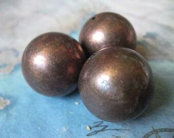 1 PC - Large Seamless 22mm Vintage Brass Bead - Z017