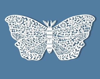 Floral Moth Papercut