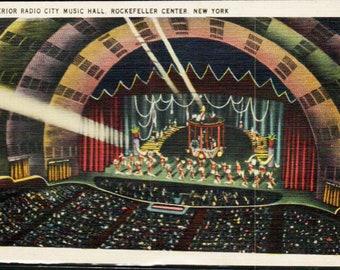 New York City 1944 Interior Radio City Music Hall Color Photo Postcard (11069)