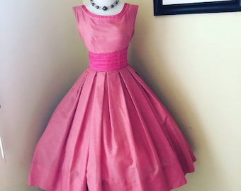 Vintage 1950's Bubblegum Pink Party Dress Very Fuly Skirt 2 Belts Included Size S-M