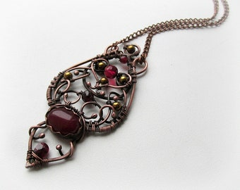 Copper pendant with red spinel and garnet, Copper wire jewelry, wire jewellery, copper jewelry, copper pendant.