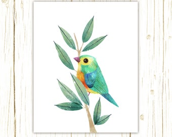 Orange-Breasted Bunting Print -- bird art -- colorful bird art by stephanie fizer coleman illustration